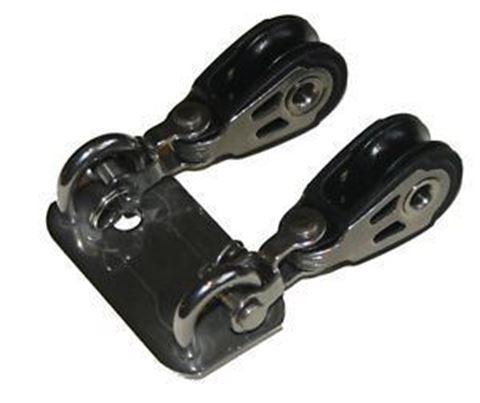 Imagen de Base ac. inóxidable con dos motones para vela láser.