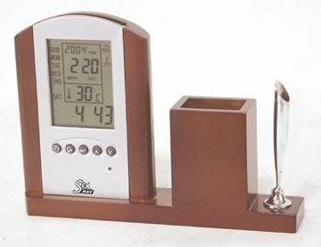 Imagen de Soporte de madera con reloj